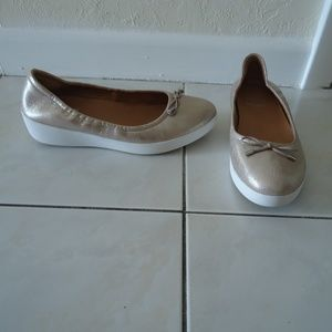 FITFLOP Gold Superbendy Leather Ballerina 8.5